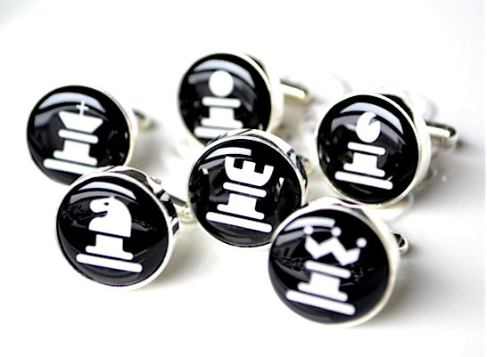 chess pieces | Custom Cufflinks Groomsmen Gifts | via EmmalineBride.com