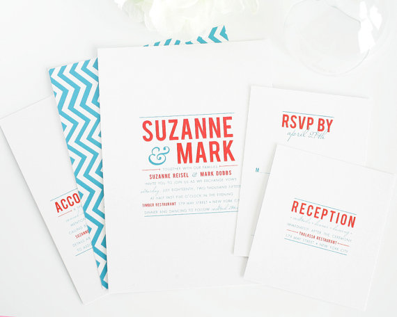 chevron modern wedding invitations