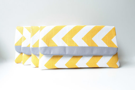 wedding clutch purses - chevron yellow and grey clutch purse (by allisa jacobs)