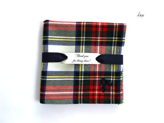 christmas wedding ideas tartan handkerchief for groomsmen gifts
