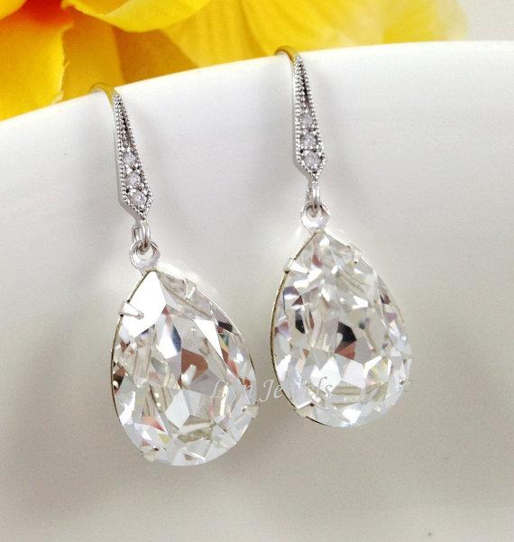 clear teardrop earrings