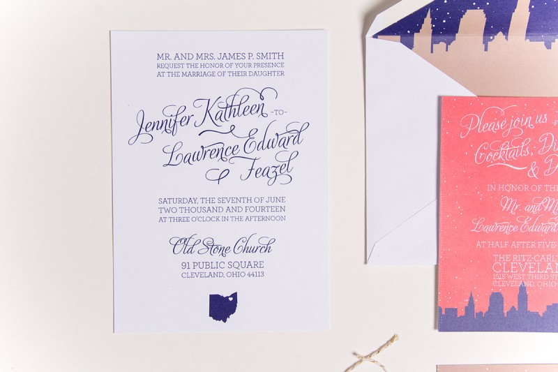 Cute Skyline Wedding Invitations | by Sparkvites | https://emmalinebride.com/invites/skyline-wedding-invitations/