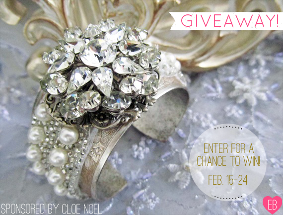 Bridal Cuff Giveaway (by CloeNoelDesigns.com via EmmalineBride.com) #handmade #wedding #jewelry