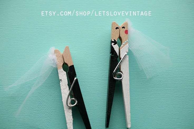 clothespin favors with bride and groom kissing by letslovevintage