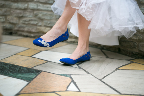 cobalt blue flat wedding shoes
