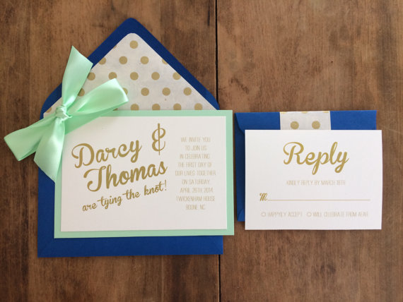 cobalt blue mint gold wedding invitations - easy invitation detail