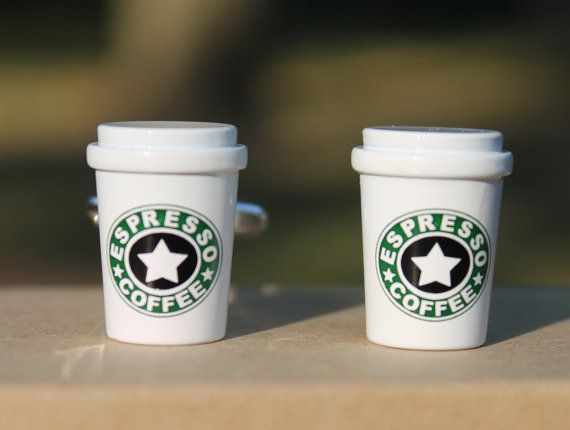 coffee cup | Custom Cufflinks Groomsmen Gifts | via EmmalineBride.com