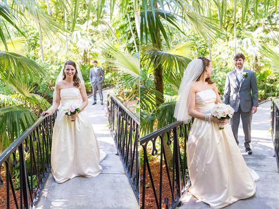 Filda Konec Photography - Hemingway House Wedding - bride and groom's first look in key west