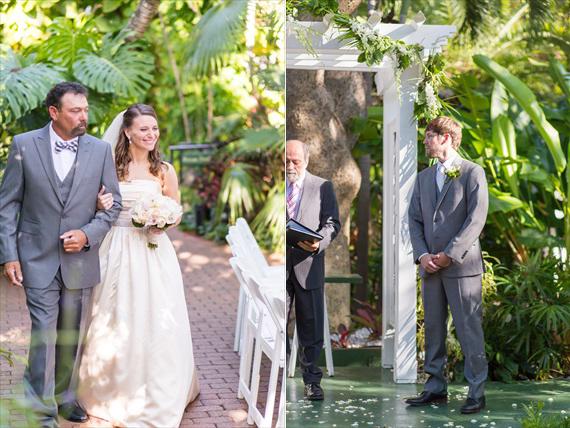 Filda Konec Photography - Hemingway House Wedding - father walks bride down the aisle and groom waits for bride