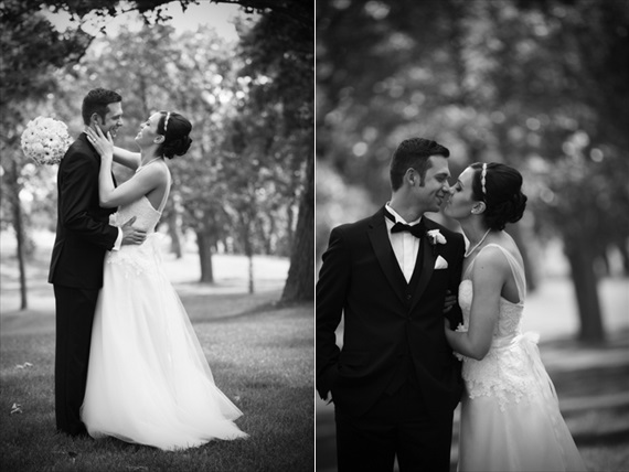 Rebecca Borg Photography - Elgin Country Club Wedding - bride and groom kissing in black and white photos
