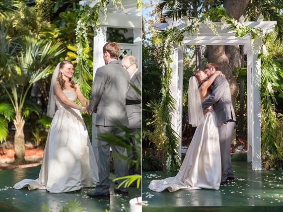 Filda Konec Photography - Hemingway House Wedding - bride and groom kiss when married in Key West wedding