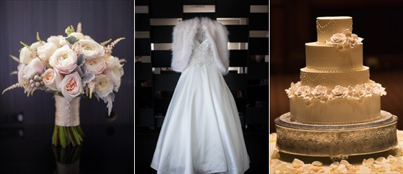 bride's bouquet, wedding dress with fur wrap, and wedding cake - Crystal Tea Room Wedding - photo: Daniel Fugaciu Photography | via https://emmalinebride.com
