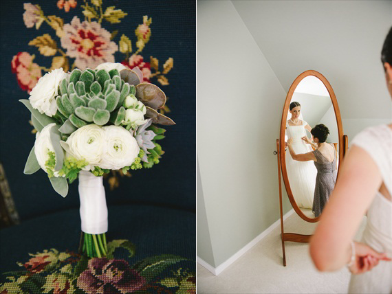 bride looking into mirror - michelle gardella photography - Handmade Connecticut Wedding