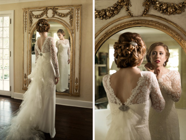 bride looks at herself in portrait at Connecticut waterfront wedding - photo: Melani Lust Photography | via https://emmalinebride.com