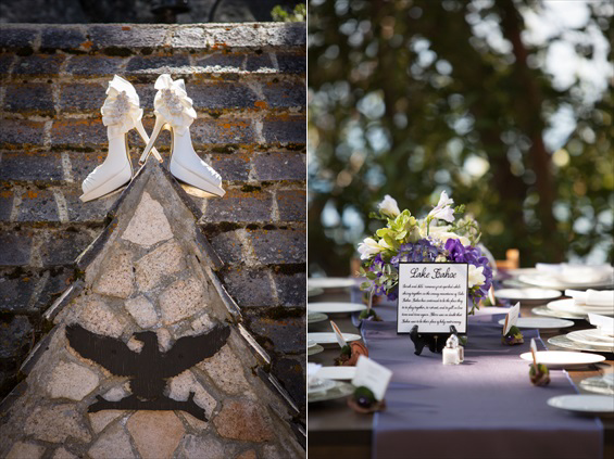 Johnstone Studios - lake tahoe wedding - bride's shoes and purple table setting