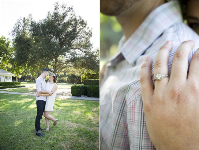 Santa Fe Springs Engagement Session with future bride showing off ring