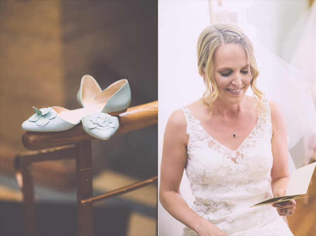 the bride's shoes (left); the bride (right) | Photo: Searching for the Light Photography LLC | via https://emmalinebride.com/real-weddings/colorado-chic-wedding-kendall-brian/