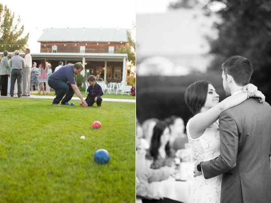 gilbert arizona wedding guests play bocce ball, bride and groom dance