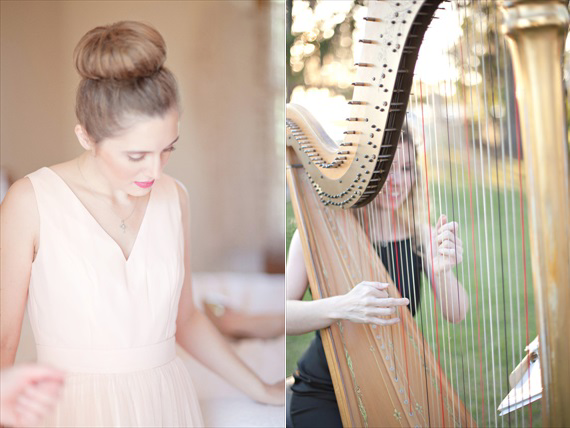 Kali Norton Photography - Louisiana wedding with bridesmaid and wedding harp