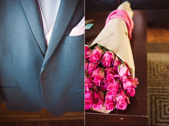 Duluth winter wedding - LaCoursiere Photography - groom's jacket and flowers