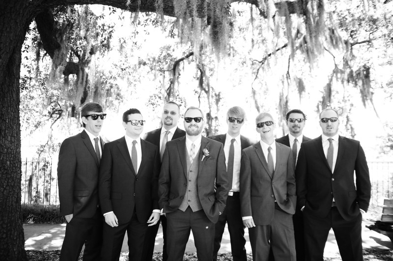 Groomsmen b&w shot | Photographer: Melissa Prosser Photography | via https://emmalinebride.com/real-weddings/colleen-ryans-lovely-savannah-wedding-at-the-mansion-on-forsyth-park