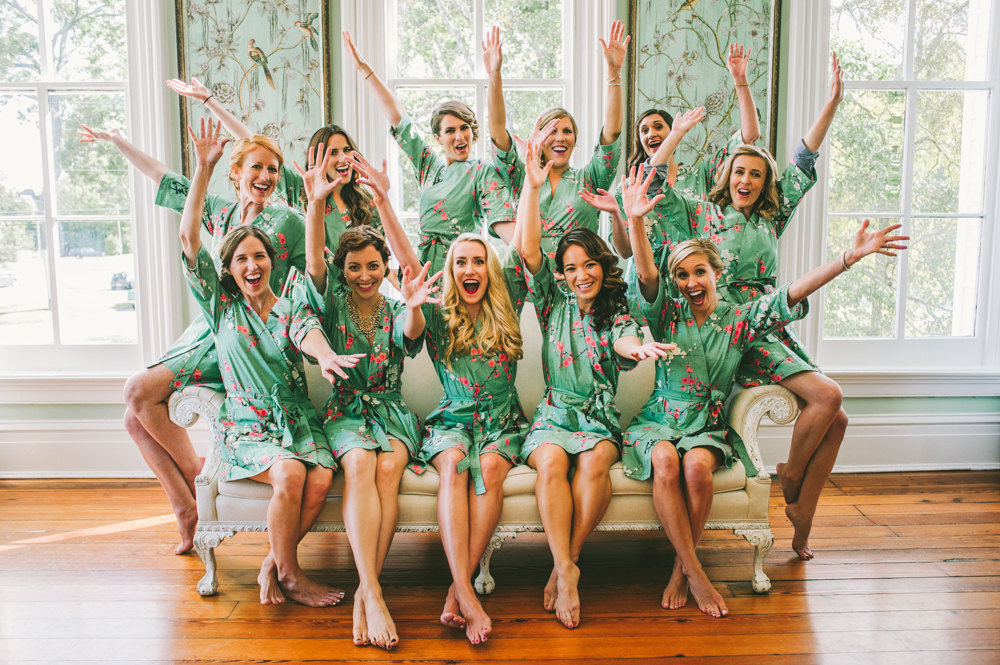 colorful bridesmaid robes photo 2