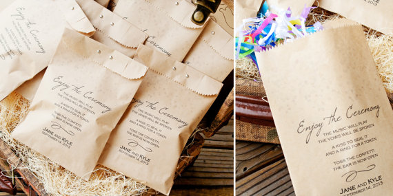 Ceremony Exit Ideas: Confetti Program Bag (by Mavora Art & Design)