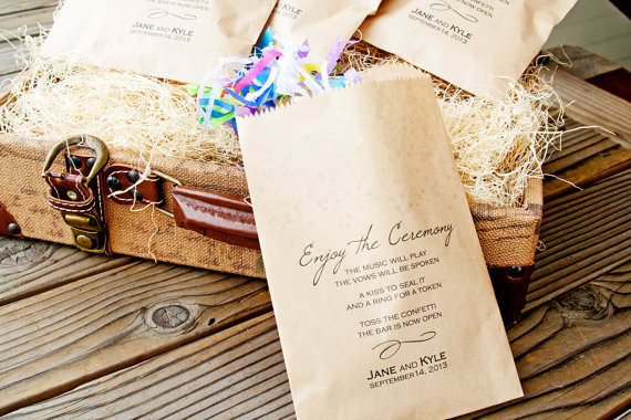Ceremony Exit Ideas: ceremony confetti bags + program