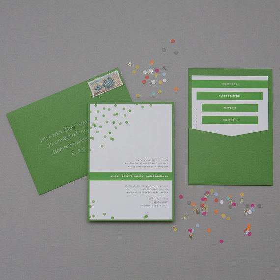 how to coordinate your wedding - confetti wedding invitation (by dear lc)