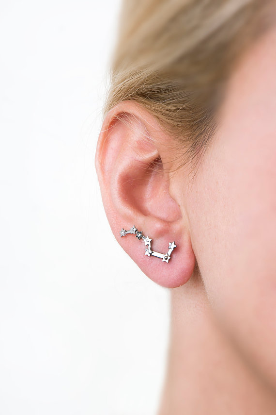 constellation earrings crawler by largentolab | via Starry Night Weddings http://emmalinebride.com/vintage/starry-night-weddings-ideas/