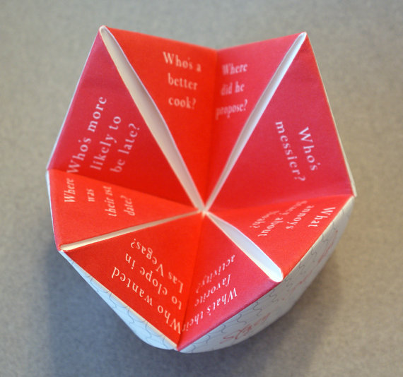 cootie catcher wedding ceremony program idea