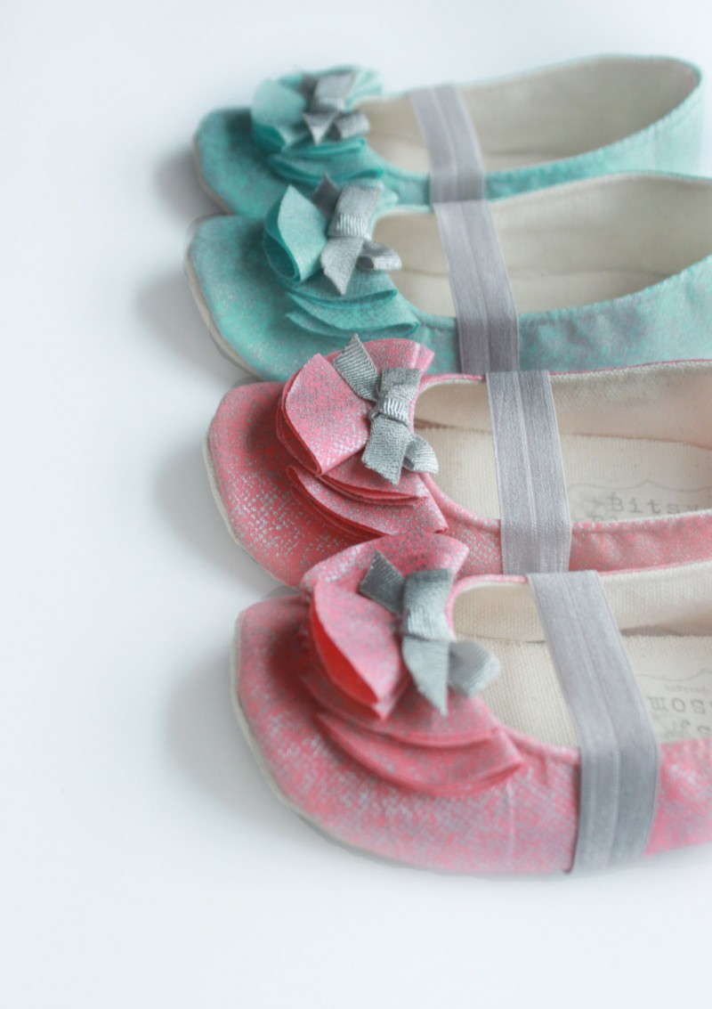 coral or aqua flower girl shoes  | handmade flower girl shoes via https://emmalinebride.com/spring/handmade-flower-girl-shoes/