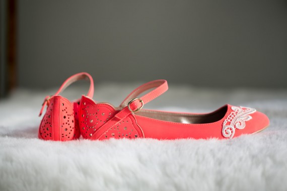 coral flats with lace wedding shoes for bride | via http://emmalinebride.com/bride/wedding-shoes-for-bride/