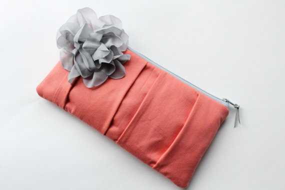 wedding clutch purses - coral bridesmaid purse with gray flower (by allisa jacobs)