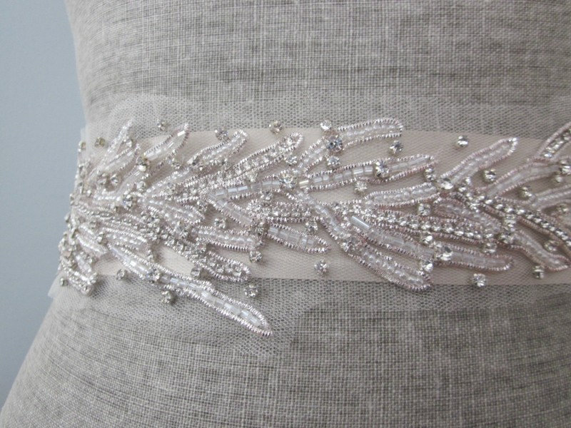 Coral Motif Beach Wedding Dress Sash | Sash Belt for Beach Bride https://emmalinebride.com/planning/beach-wedding-dress-sash/