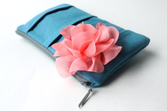 wedding clutch purses - coral pink and blue bridesmaid clutch (by allisa jacobs)