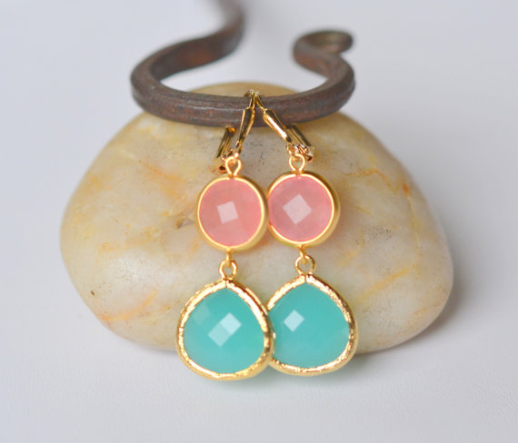 Coral and Turquoise Earrings (by Rustic Gem Jewelry via EmmalineBride.com) #handmade #wedding #jewelry