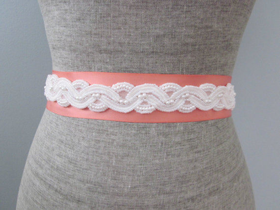 coral wedding dress sash