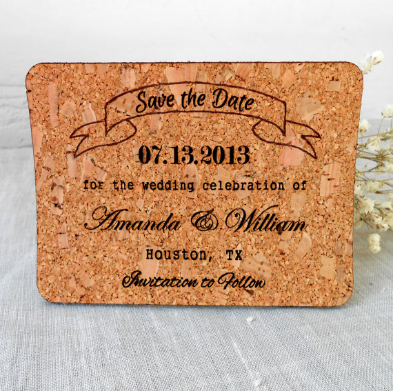 cork save the dates - wine themed wedding ideas