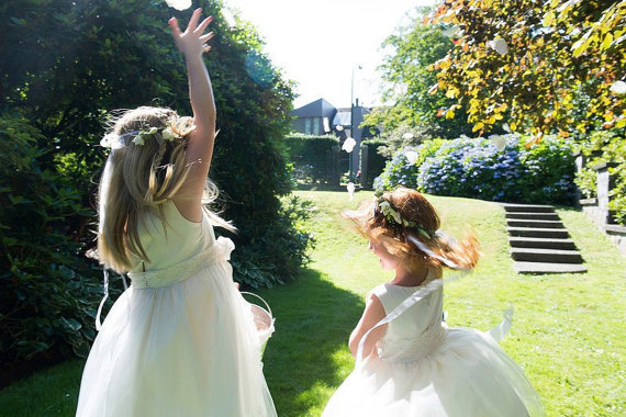 Cotton Flower Girl Dresses (by Olive & Fern, photo: Kelsey Goodwin, via EmmalineBride.com) #handmade #wedding