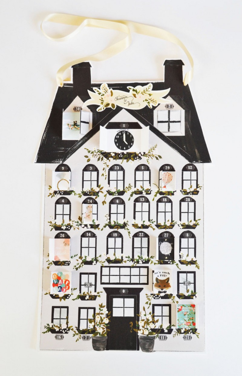 Cute house-inspired wedding countdown calendar by The First Snoww
