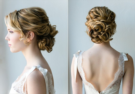curly updo with twists side and back view