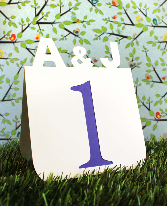 custom initial monogram table numbers by tiffzippy via Colorful Wedding Accessories