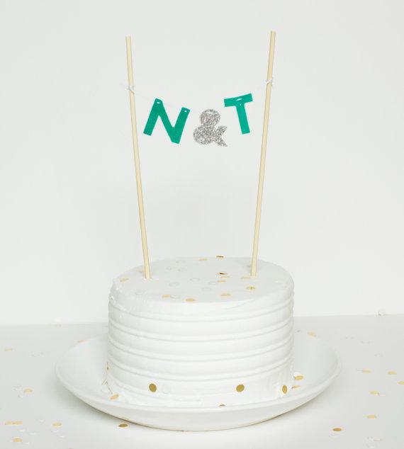 Unique Cake Topper - initials banner cake topper