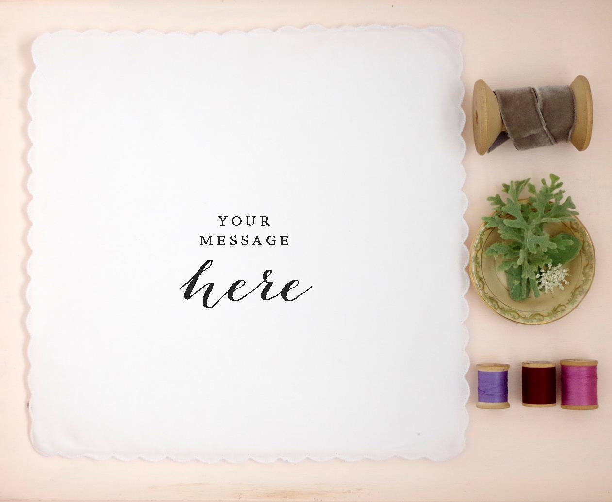 You can have a custom hankie made from your handwriting. Cute gift idea! | personalized wedding handkerchiefs | https://emmalinebride.com/gifts/personalized-wedding-handkerchiefs/