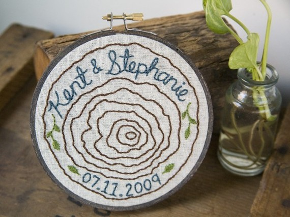 custom tree ring embroidered wedding hoop art