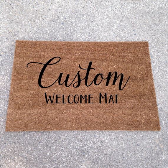 custom welcome mat | custom doormats etsy find from lorustique https://emmalinebride.com/gifts/custom-doormats-etsy/