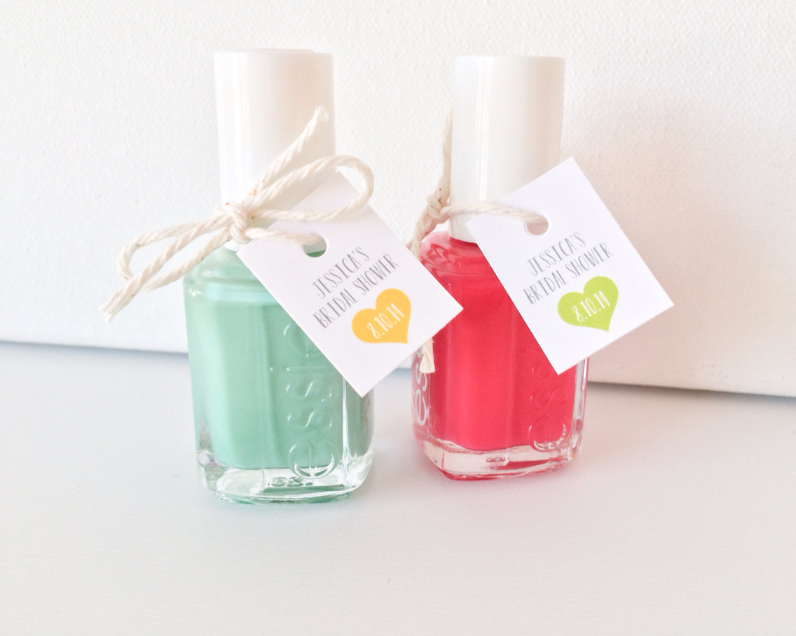 Nail Polish Bridal Shower Favors | via https://emmalinebride.com/favors/nail-polish-bridal-shower-favors/ | cute idea!