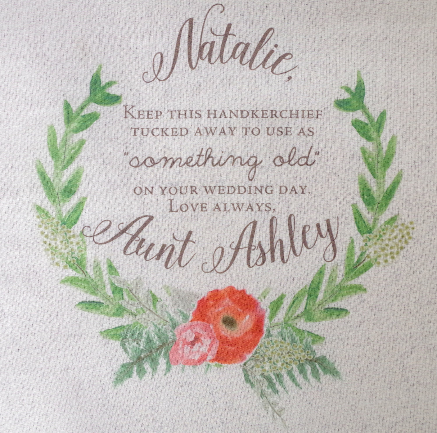 cute something old handkerchief | personalized wedding handkerchiefs | https://emmalinebride.com/gifts/personalized-wedding-handkerchiefs/