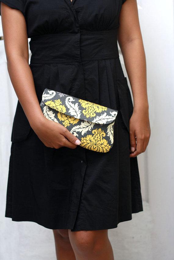 Gray and Yellow Damask Clutch Purse (by Oyeta)